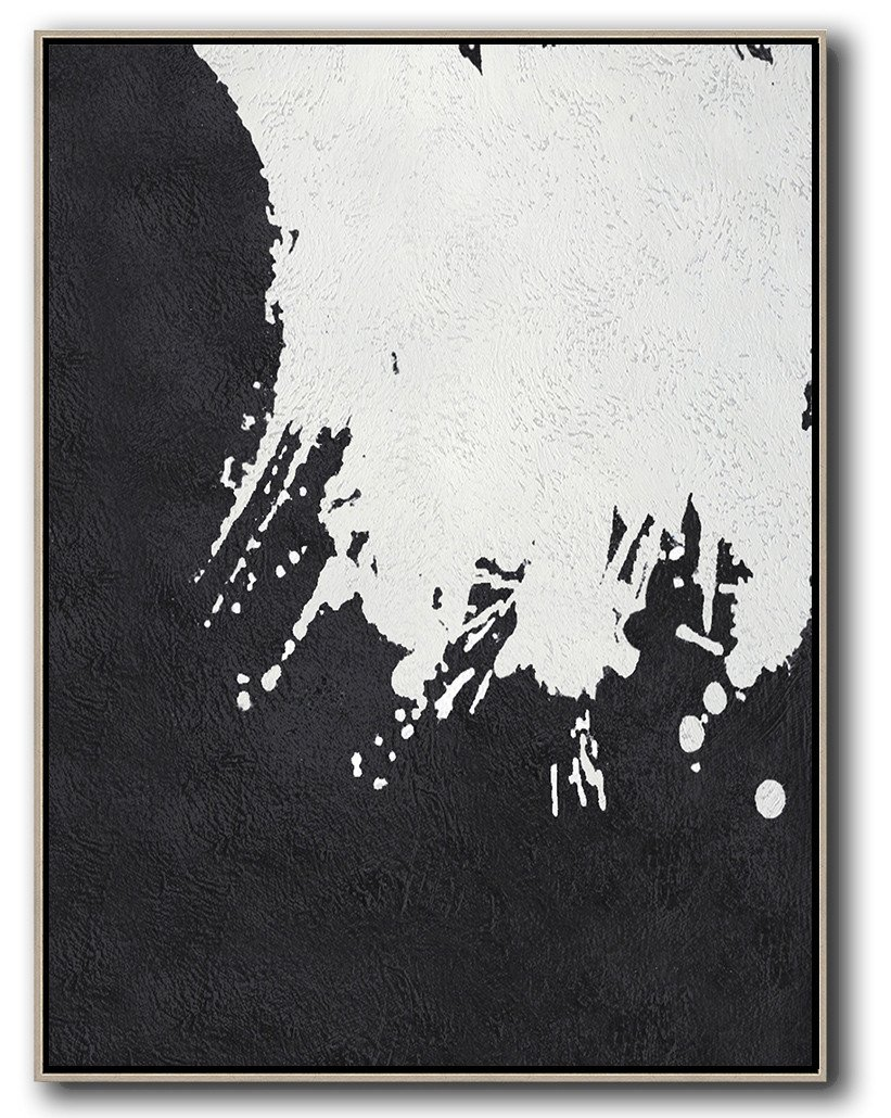 Decorating A Big Living Room,Black And White Minimal Painting On Canvas - Abstract Paintings On Sale
