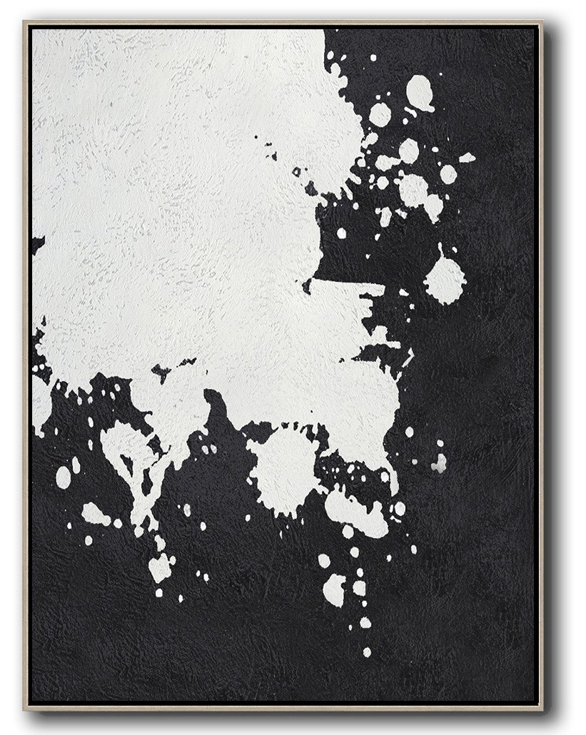 Modern Living Room Decor,Black And White Minimal Painting On Canvas - Original Abstract Oil Paintings