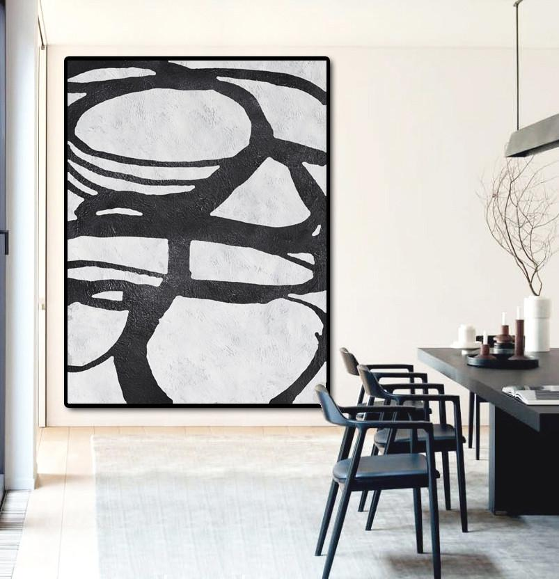 Acrylic Painting On Canvas,Black And White Minimal Painting On Canvas - Modern Wall Art