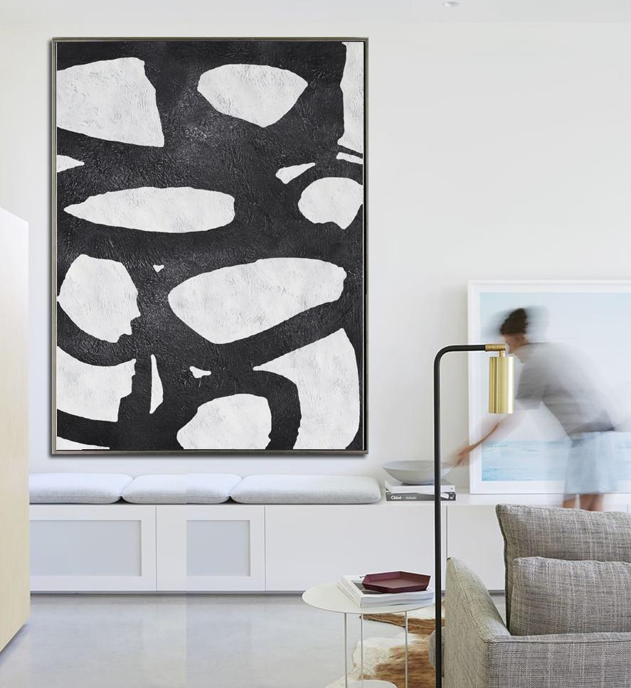 Bedroom Wall Decor,Black And White Minimal Painting On Canvas - Canvas Wall Art Home Decor