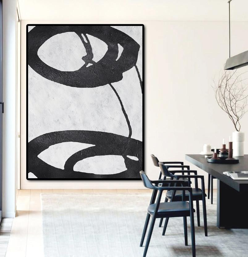 Family Wall Decor,Black And White Minimal Painting On Canvas - Huge Abstract Canvas Art