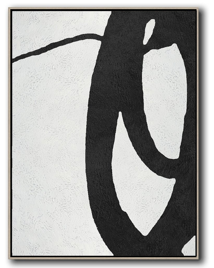 Lounge Wall Decor,Black And White Minimal Painting On Canvas - Hand Paint Large Clean Modern Art