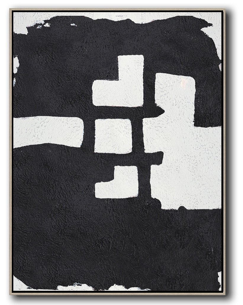 Pretty Abstract Paintings,Black And White Minimal Painting On Canvas - Xl Large Canvas Art