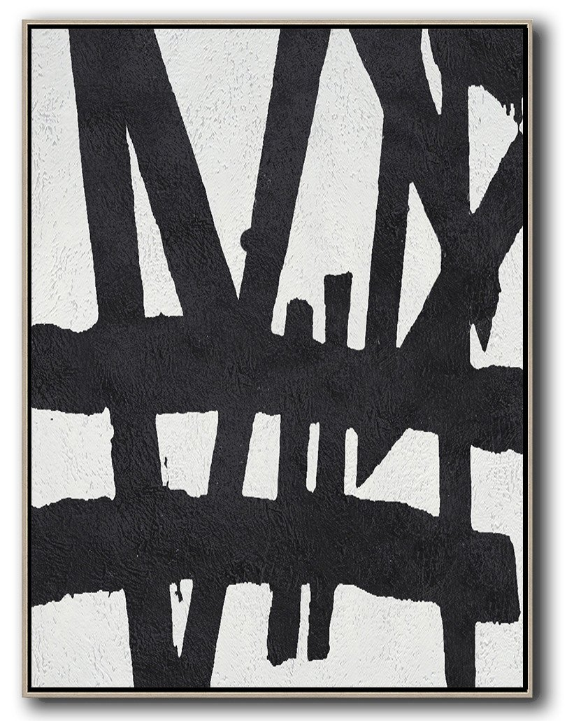 Modern Painting Abstract,Black And White Minimal Painting On Canvas - Hand Paint Abstract Painting