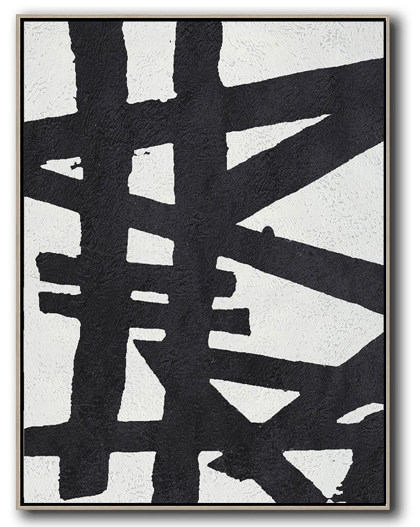 Large Abstract Art,Black And White Minimal Painting On Canvas - Abstract Oil Painting