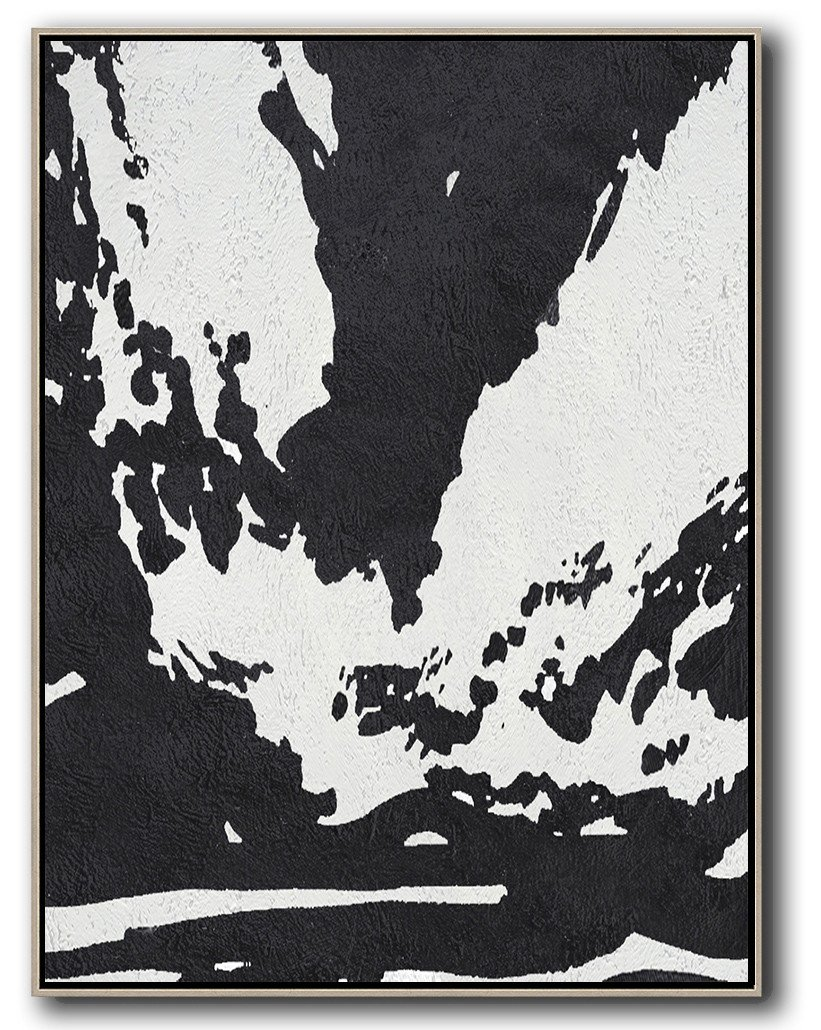 Acrylic On Canvas Abstract,Black And White Minimal Painting On Canvas - Large Contemporary Art Canvas Painting