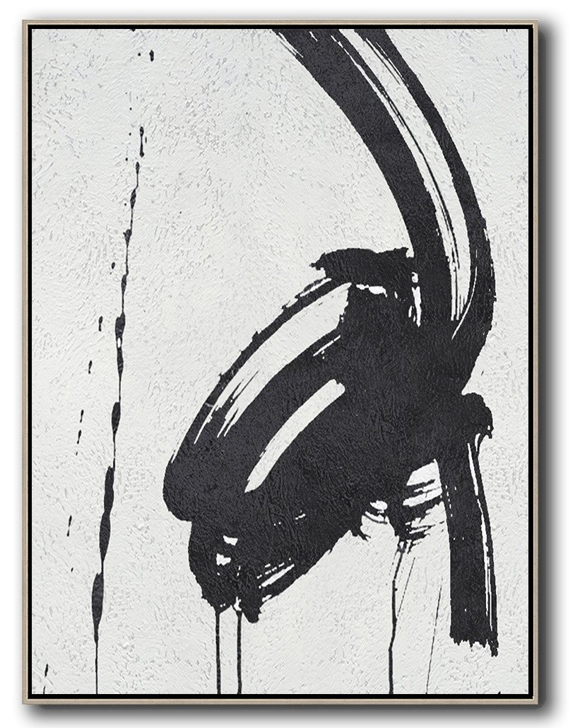 Abstract Painting Extra Large Canvas Art,Black And White Minimal Painting On Canvas - Modern Paintings