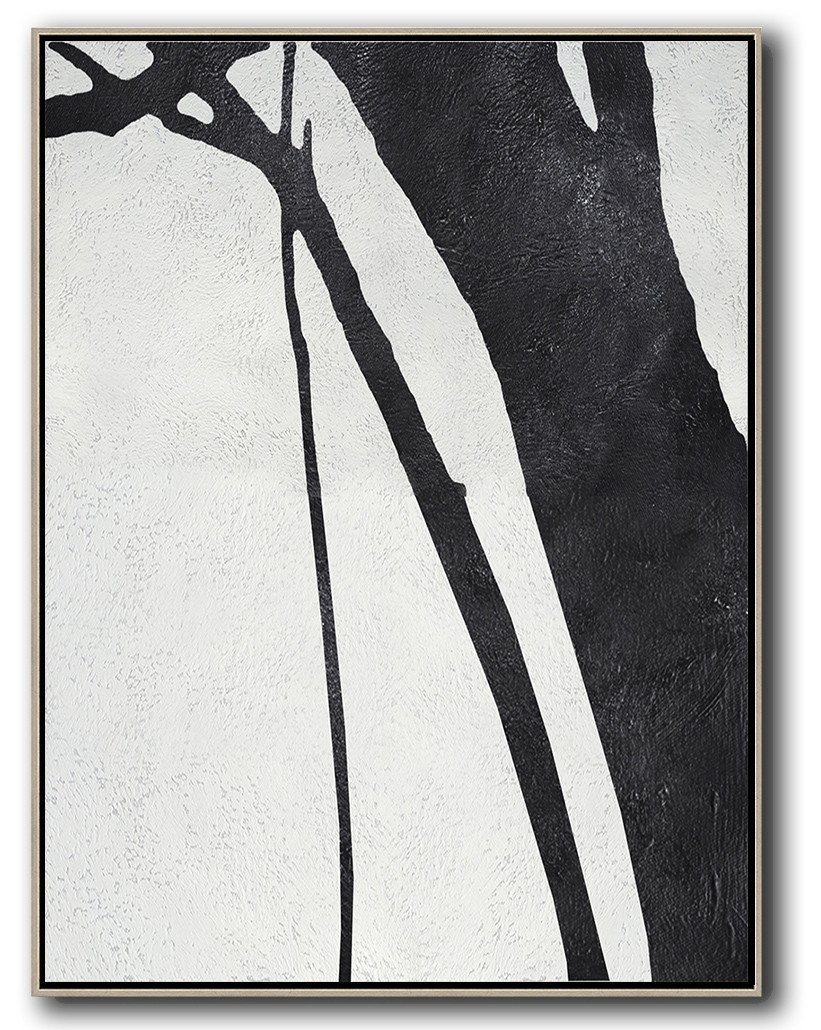 Hand Paint Large Clean Modern Art,Black And White Minimal Painting On Canvas - Original Abstract Painting Canvas Art