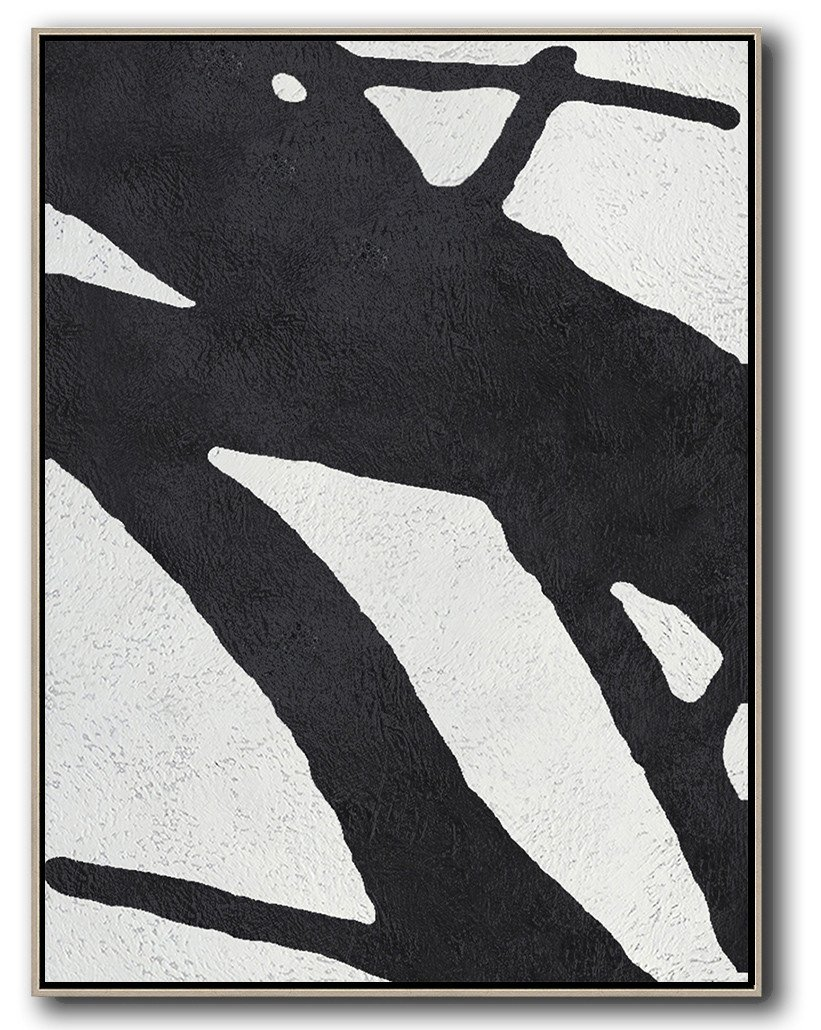 Extra Large Paintings,Black And White Minimal Painting On Canvas - Big Canvas Painting