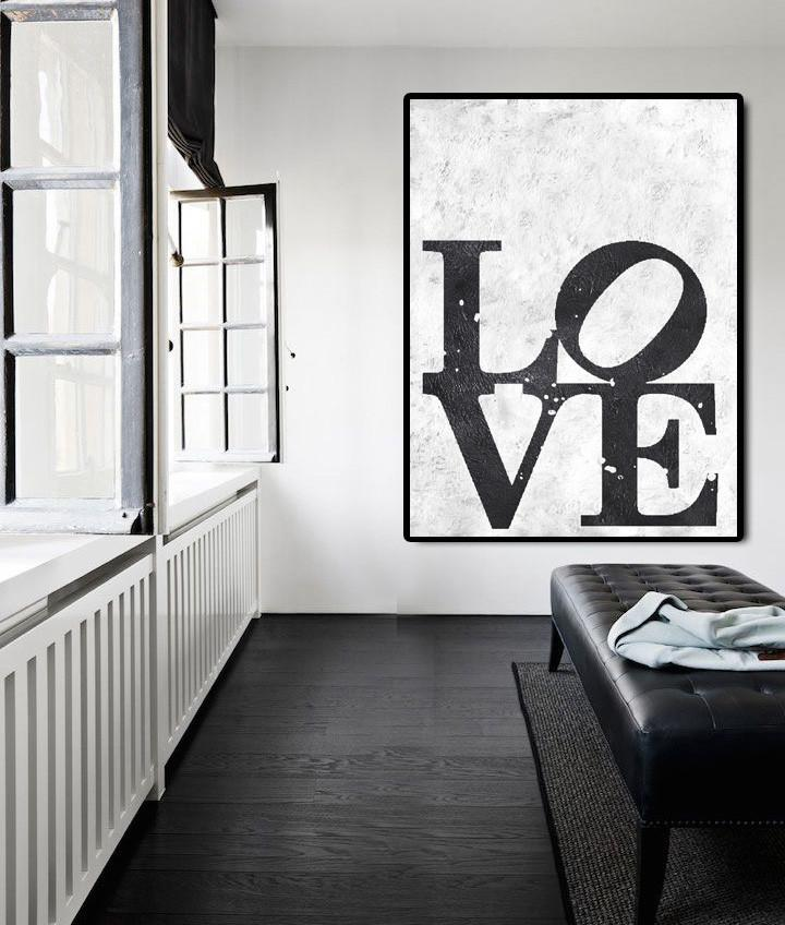 Original Art Acrylic Painting,Black And White Minimal Painting On Canvas - Large Oil Canvas Art