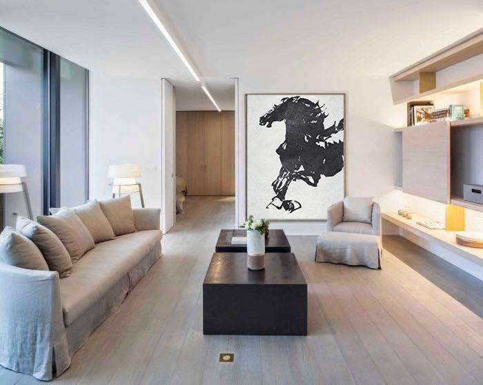 Big Living Room Decor,Black And White Minimal Painting On Canvas - Colorful Wall Art