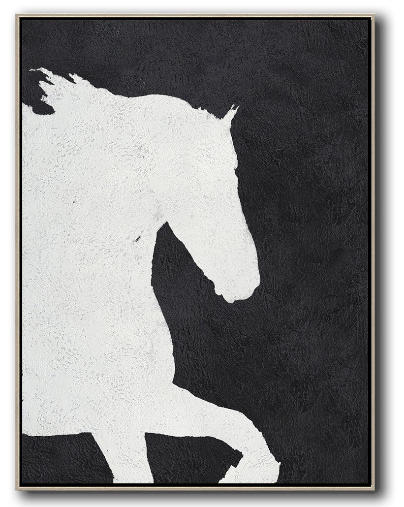 "Extra Large 72"" Acrylic Painting,Black And White Minimal Painting On Canvas - Modern Art"