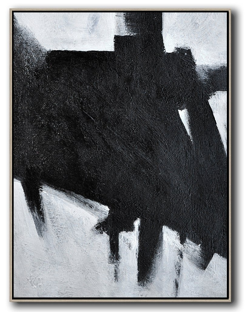 Modern Art Oil Painting,Black And White Minimal Painting On Canvas - Hand-Painted Contemporary Art