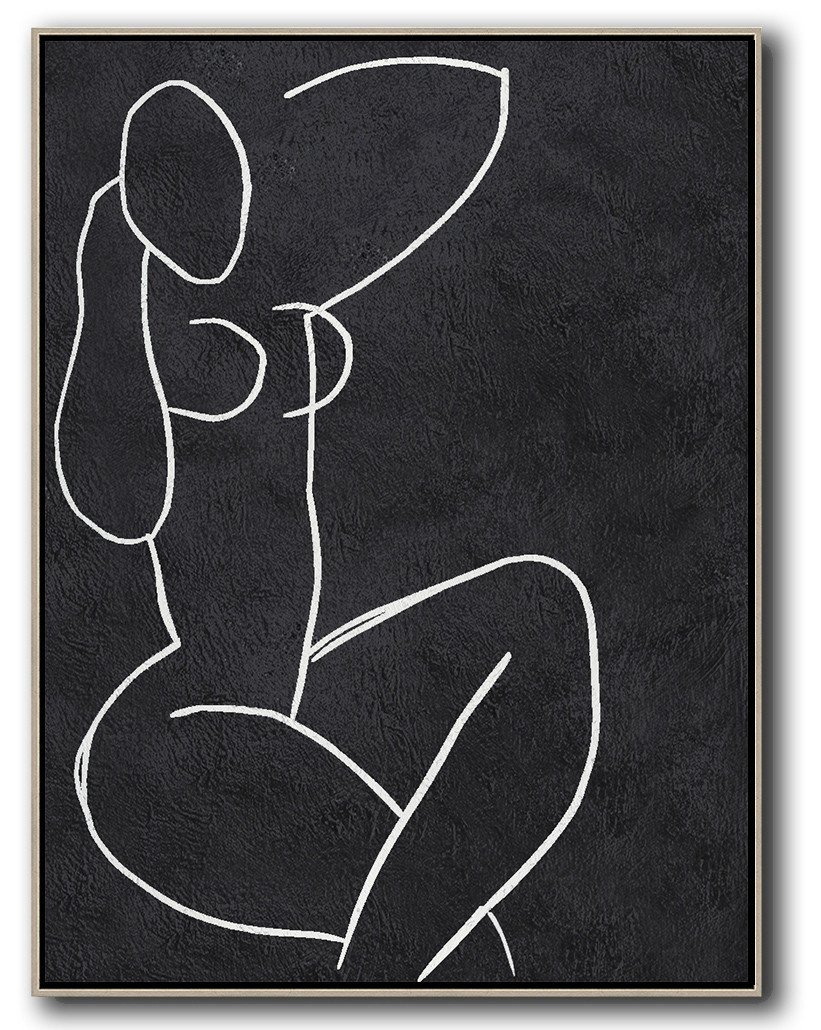 Large Abstract Art,Black And White Minimal Painting On Canvas - Large Oil Canvas Art
