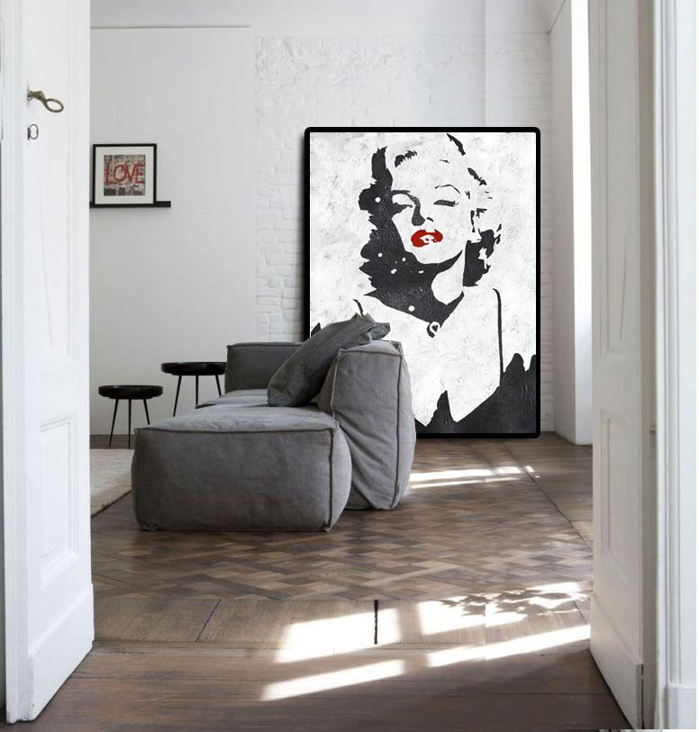 Large Abstract Art Handmade Acrylic Painting,Black And White Minimal Painting On Canvas - Acrylic Painting On Canvas