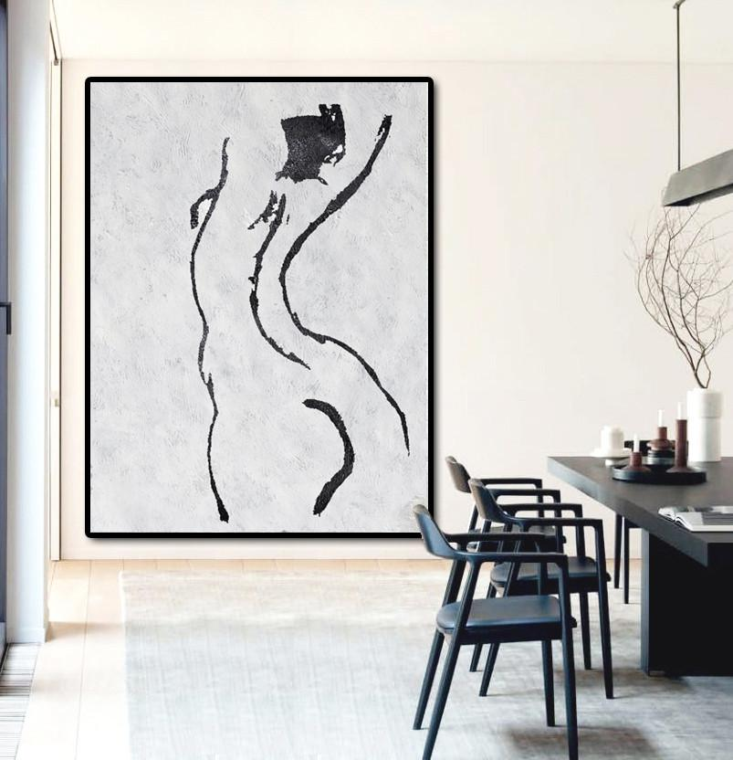 Handmade Large Painting,Black And White Minimal Painting On Canvas - Contemporary Artwork