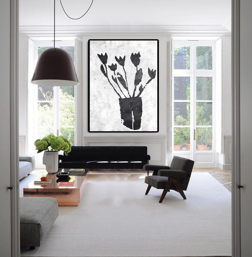 Handmade Acrylic Painting,Black And White Minimal Painting On Canvas - Large Living Room Wall Decor