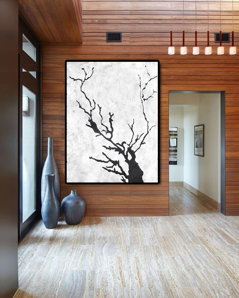 Hand Paint Large Art,Black And White Minimal Painting On Canvas - Colorful Wall Art