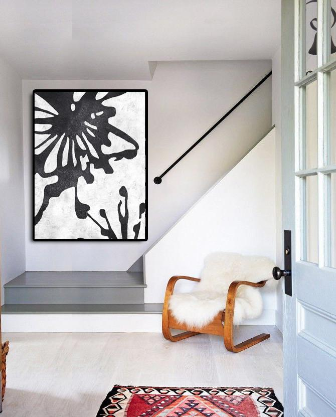 Contemporary Art Canvas Painting,Black And White Minimal Painting On Canvas - Personalized Canvas Art