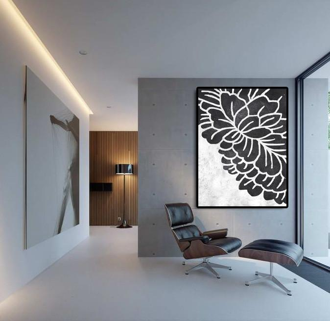 Original Modern Art,Large Wall Art Handmade,Black And White Minimal Painting On Canvas - Big Painting