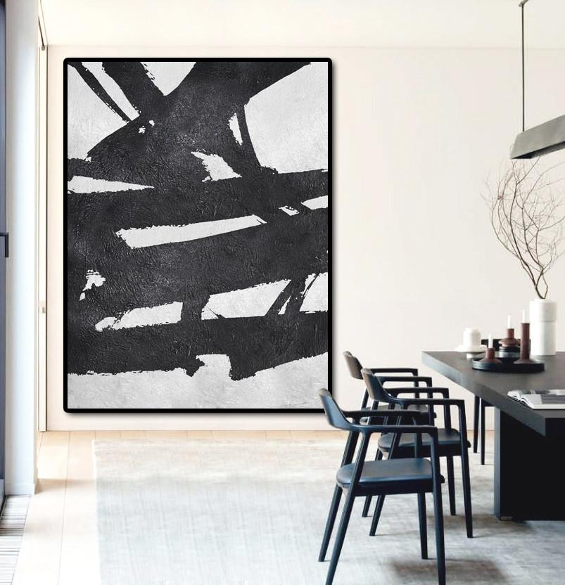 Handmade Extra Large Contemporary Painting,Black And White Minimal Painting On Canvas - Original Abstract Art Paintings