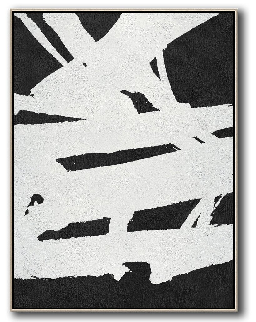 Abstract Painting Extra Large Canvas Art,Black And White Minimal Painting On Canvas - Family Wall Decor