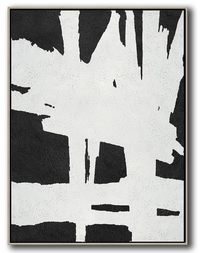 Modern Art,Black And White Minimal Painting On Canvas - Modern Living Room Decor