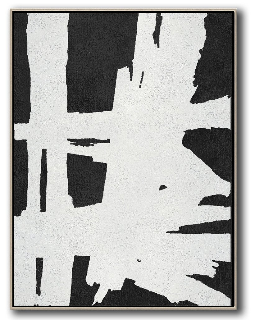 Large Abstract Painting,Black And White Minimal Painting On Canvas - Colorful Wall Art