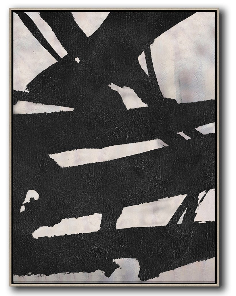 Large Abstract Art,Black And White Minimal Painting On Canvas - Wall Art Ideas For Living Room