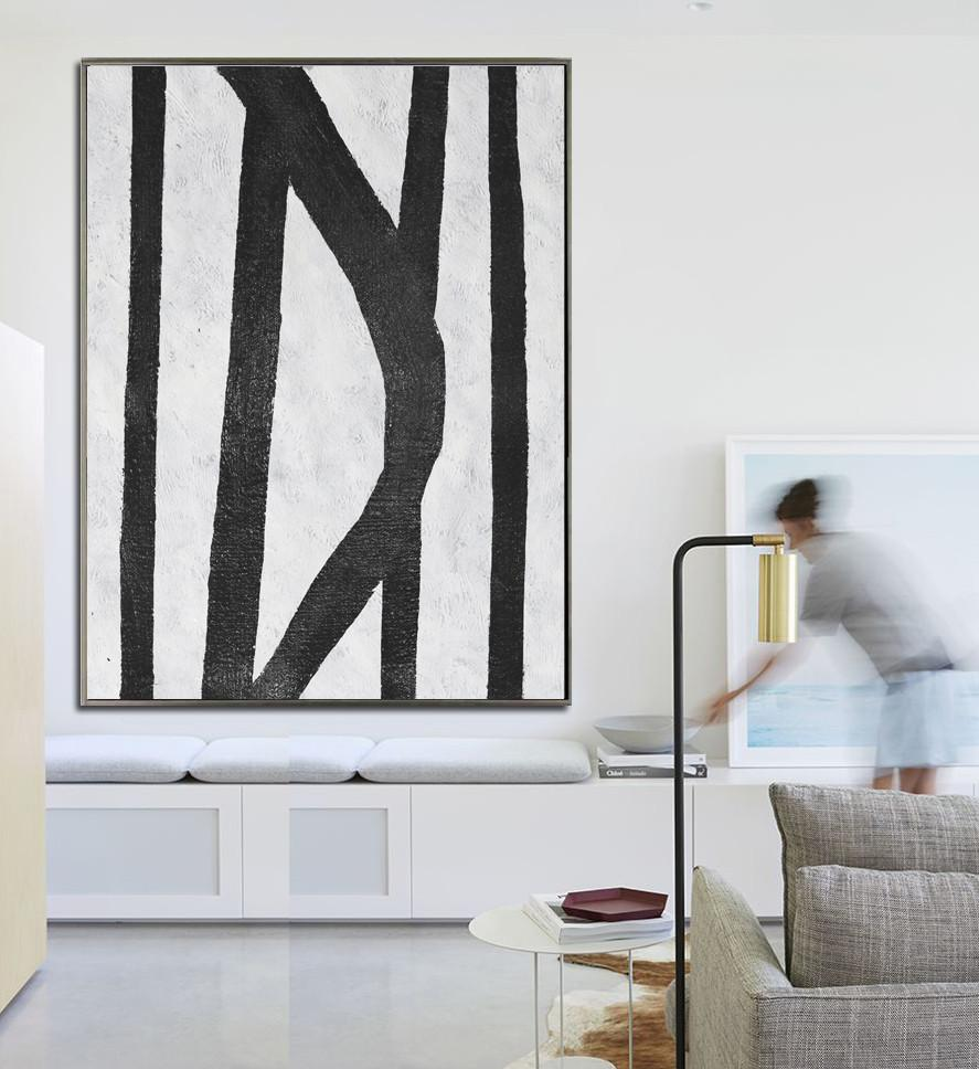 Contemporary Art Acrylic Painting,Black And White Minimal Painting On Canvas - Big Wall Art For Living Room