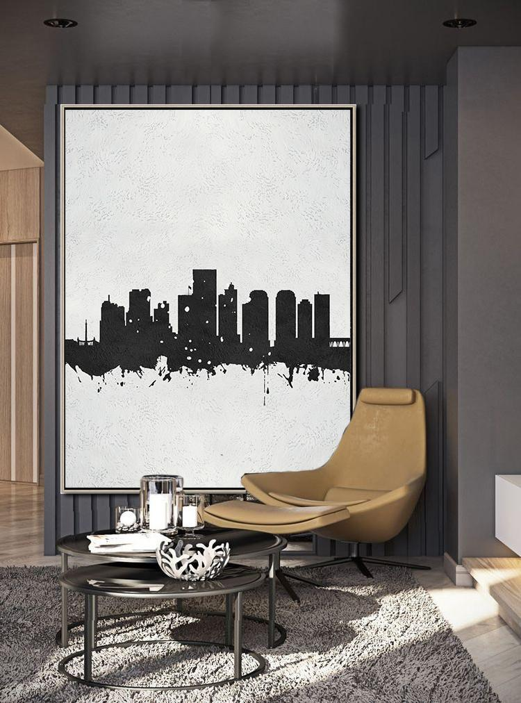 Hand Made Abstract Art,Black And White Minimal Painting On Canvas - Large Abstract Art Handmade Acrylic Painting