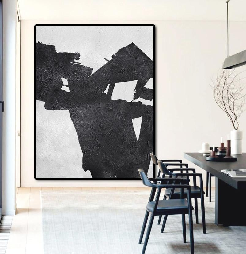 Large Living Room Wall Decor,Black And White Minimal Painting On Canvas - Pretty Abstract Paintings