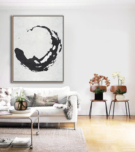 Hand Painted Extra Large Abstract Painting,Black And White Minimal Painting On Canvas - Original Art For Sale By Artist