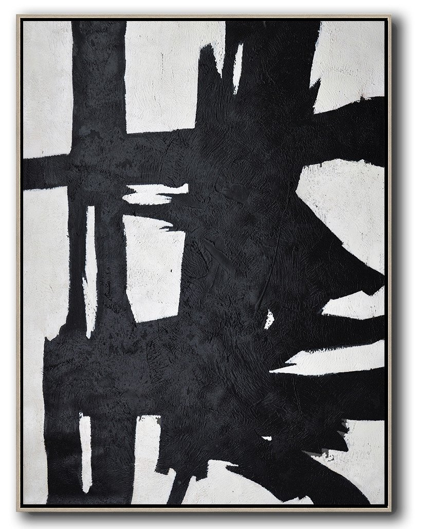 Large Abstract Art,Black And White Minimal Painting On Canvas - Original Abstract Art Paintings