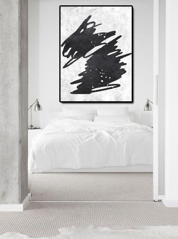 Extra Large Canvas Art,Black And White Minimal Painting On Canvas - Modern Painting Abstract