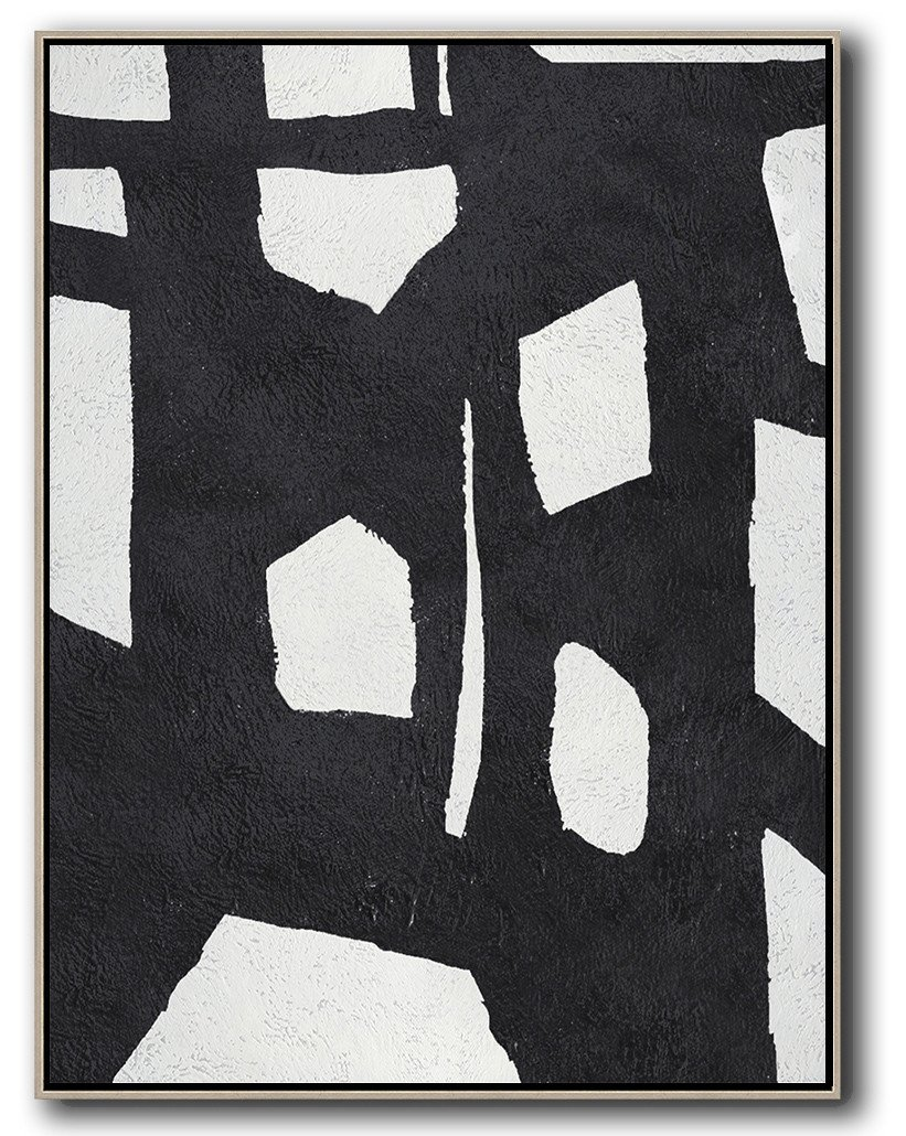 Hand Made Abstract Art,Black And White Minimal Painting On Canvas - Contemporary Canvas Paintings