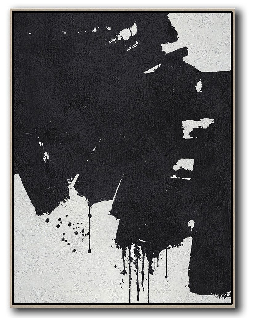 Handmade Large Painting,Black And White Minimal Painting On Canvas - Abstract Artwork Online