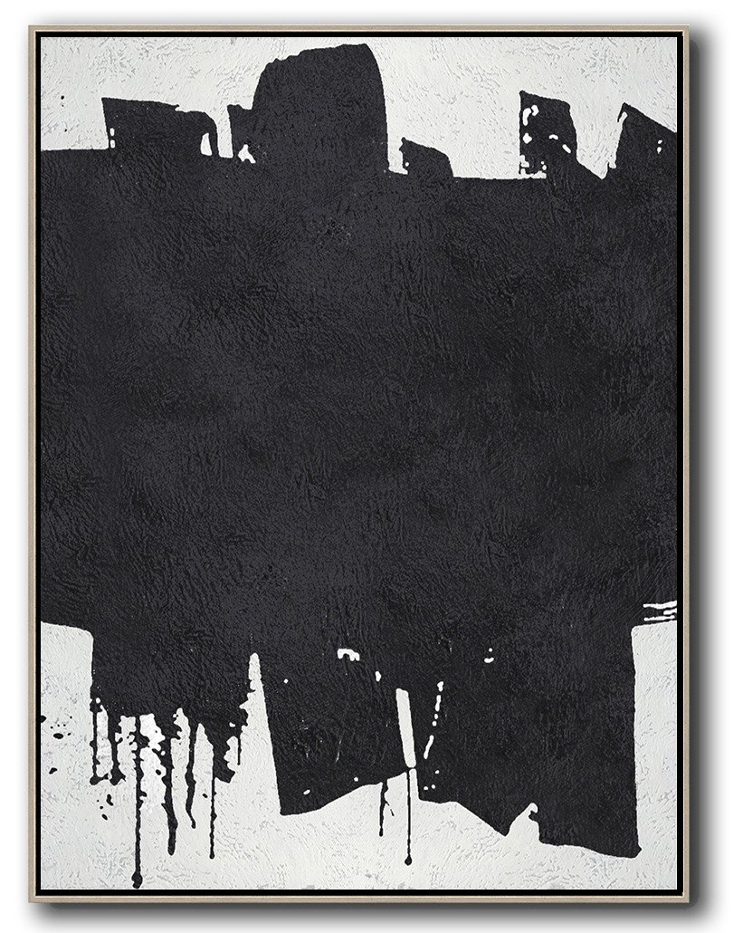 Original Artwork Extra Large Abstract Painting,Black And White Minimal Painting On Canvas - Abstract Painting For Home