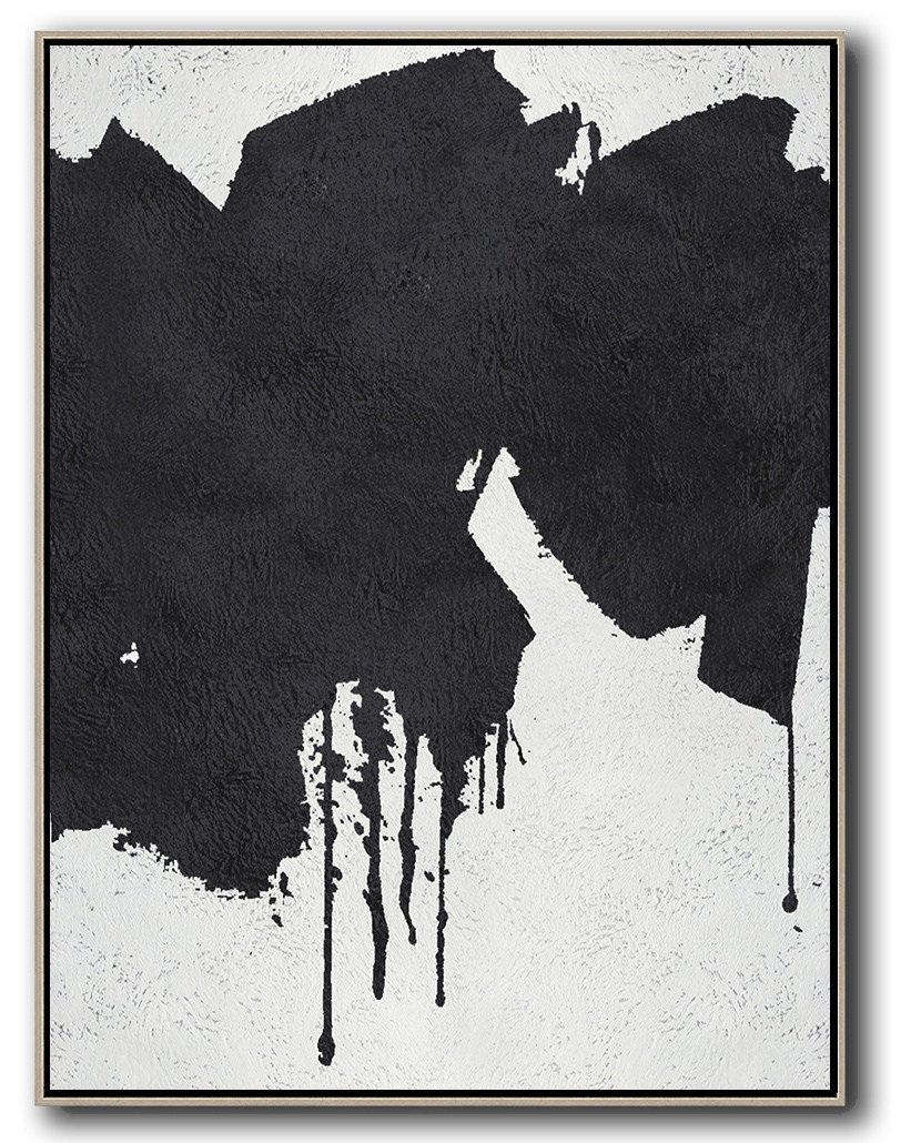 Large Abstract Art,Black And White Minimal Painting On Canvas - Big Painting