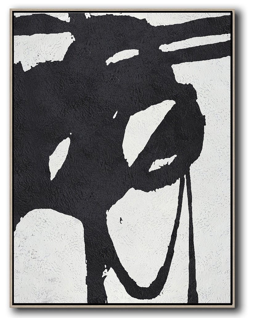 Large Abstract Art Handmade Painting,Black And White Minimal Painting On Canvas - Personalized Canvas Art