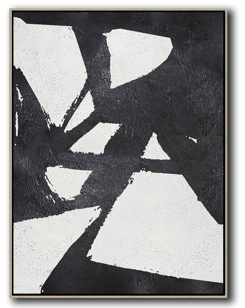Large Abstract Art Handmade Painting,Black And White Minimal Painting On Canvas - Extra Large Canvas Art,Handmade Acrylic Painting