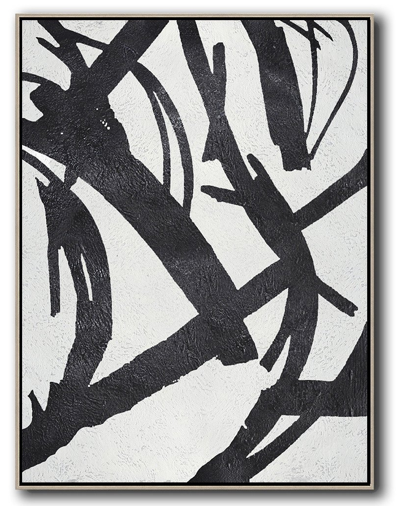 Handmade Painting Large Abstract Art,Black And White Minimal Painting On Canvas - Hand Painted Acrylic Painting