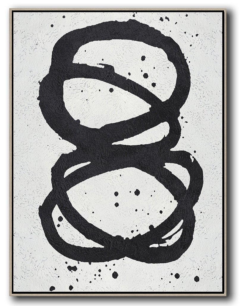 Original Painting Hand Made Large Abstract Art,Black And White Minimal Painting On Canvas - Modern Art Abstract Painting