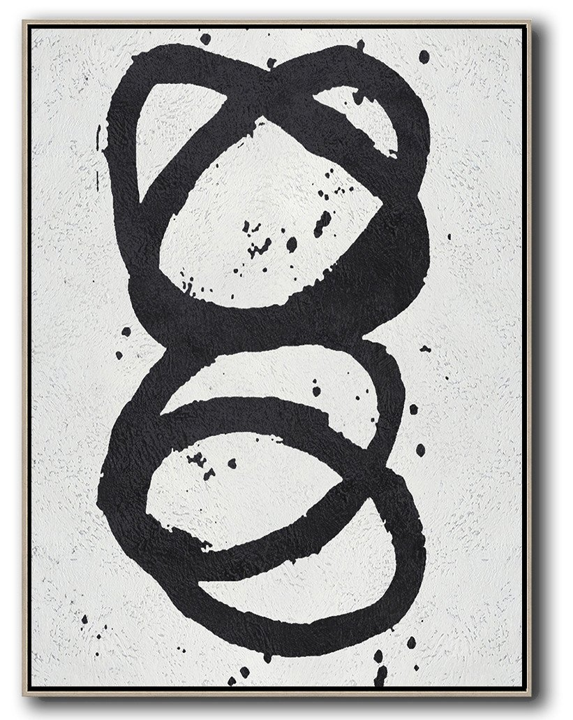 Canvas Paintings For Sale,Black And White Minimal Painting On Canvas - Modern Paintings