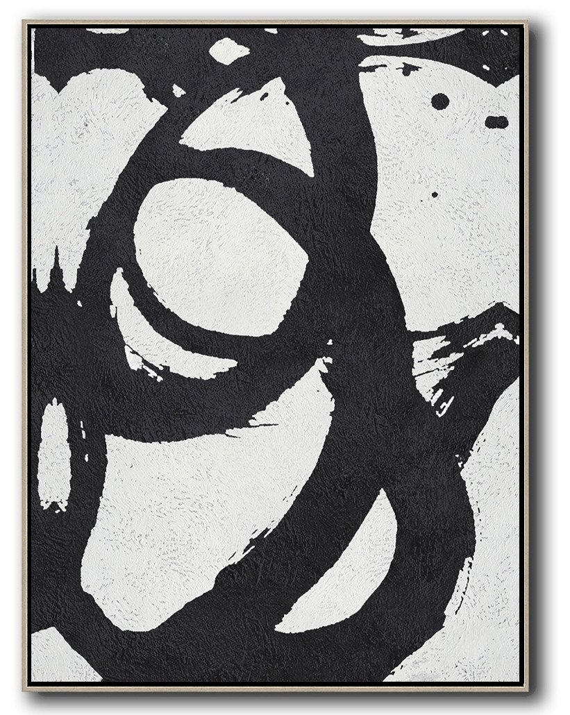 Extra Large Painting,Black And White Minimal Painting On Canvas - Large Contemporary Art Canvas Painting