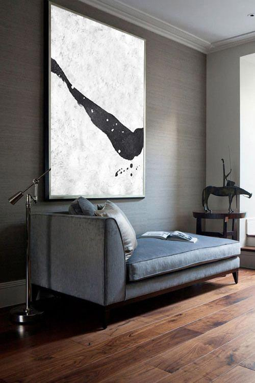 Handmade Large Contemporary Art,Black And White Minimal Painting On Canvas - Hand Painted Original Art
