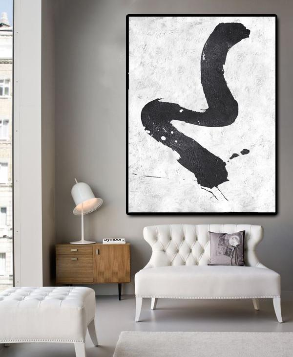 Extra Large Canvas Art,Black And White Minimal Painting On Canvas - Hand Painted Abstract Art
