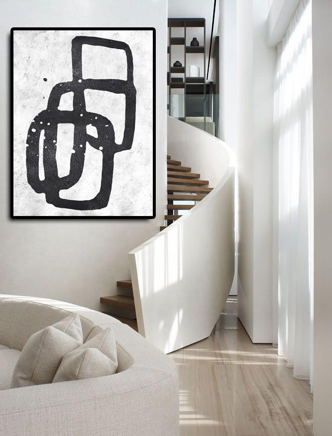 Colorful Wall Art,Black And White Minimal Painting On Canvas - Modern Art