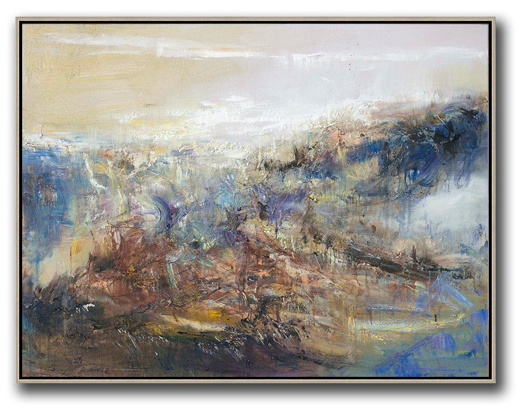 "Extra Large 72"" Acrylic Painting,Abstract Landscape Oil Painting,Abstract Art Decor Large Canvas Painting,Light Yellow,Brown,Blue,White.etc"
