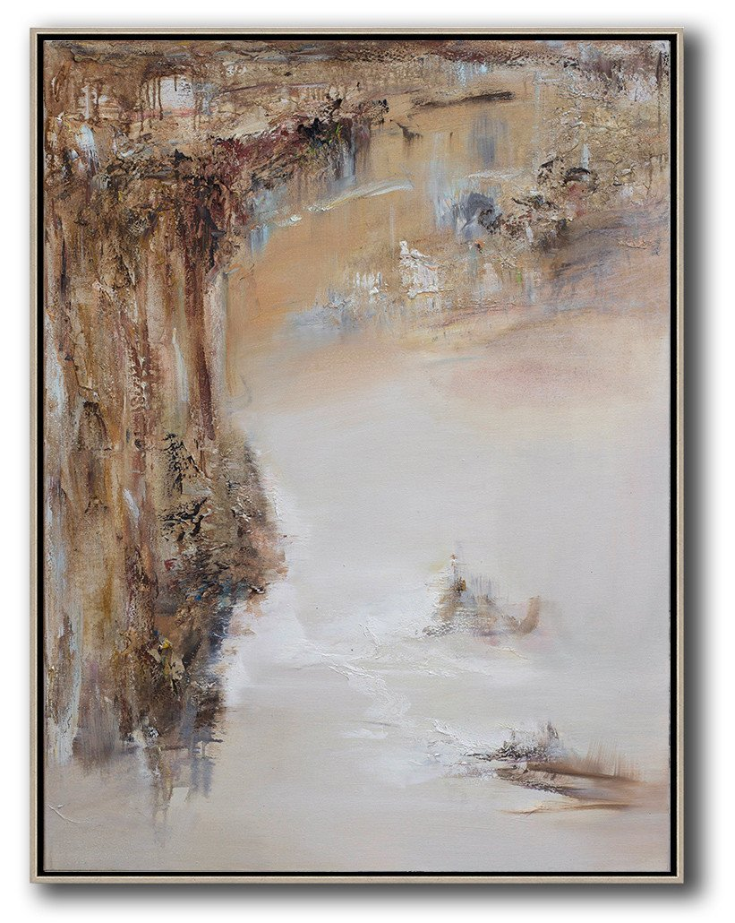 Abstract Painting Extra Large Canvas Art,Abstract Landscape Oil Painting,Original Art Acrylic Painting,Brown,White,Grey.etc